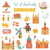 套丹麦地标,著名地方,标志 向量例证