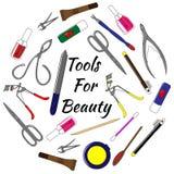 套为修指甲的工具 为秀丽的五颜六色的传染媒介例证工具 免版税库存图片
