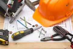 套为修理和建筑的不同的工具 免版税图库摄影