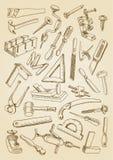套为木匠业工作的工具 库存图片