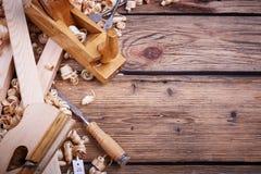 套为木材加工的工具 免版税图库摄影