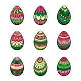 套九个五颜六色的复活节彩蛋 免版税图库摄影