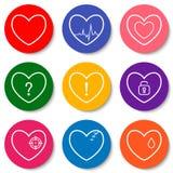 套九个五颜六色的平的心脏象 双重心脏,伤心,心跳,锁着的心脏 情人节象 免版税库存照片