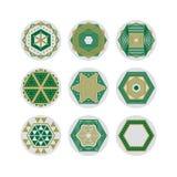 套九个抽象六角形形状的标志 免版税图库摄影