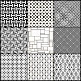 套九个黑白几何无缝的样式 免版税库存图片