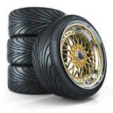 套习惯轮子,被镀铬的外缘 皇族释放例证