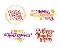 套书法措辞感恩,愉快的感恩天 假日家庭正面引述字法 明信片或 库存例证