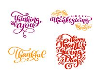 套书法措辞认为您,愉快的感恩,感激,愉快的感恩天 假日家庭 皇族释放例证