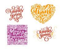 套书法文本在愉快的感恩天感谢您 假日家庭正面引述字法 明信片或 库存例证