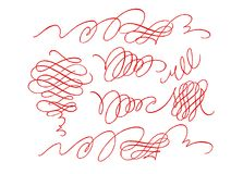 套书法设计的华丽不对称的元素在白色背景 手写书法针对性的笔样式 向量例证