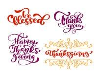 套书法词组保佑,谢谢,在愉快的感恩天 假日家庭正面引述字法 库存例证
