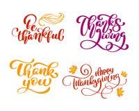 套书法词组是感激的,谢谢,愉快的感恩天 假日家庭正面引述字法 库存例证