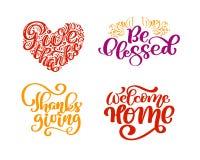 套书法词组给感谢,保佑,感恩天,受欢迎的家 假日家庭正面行情 库存例证