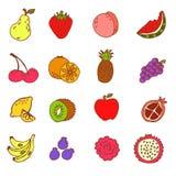 套乱画手拉的果子象例证 免版税库存照片