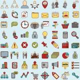 套事务、财务和通信的64个网象 免版税图库摄影