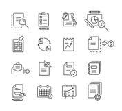 套事务、财务和通信的象线性设计文件 也corel凹道例证向量 库存照片