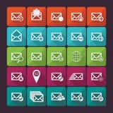 套二十五个平的邮件象 社会 免版税库存图片