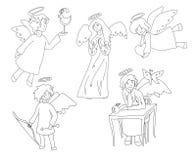 套五个逗人喜爱的天使 免版税图库摄影