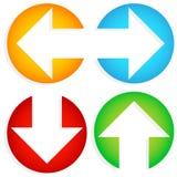 套五颜六色左右, Up-Down箭头在圈子切开了 库存图片
