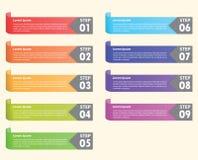 套五颜六色的书签, Infographics背景 库存图片