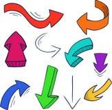 套五颜六色的乱画箭头 向量例证