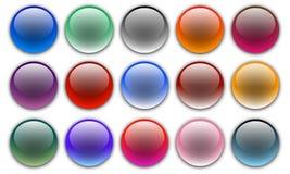 套五颜六色的传染媒介网球形按钮 图库摄影