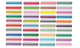 套五颜六色的传染媒介网药片按钮 免版税库存照片