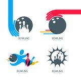 套五颜六色的保龄球商标、象和标志 保龄球、保龄球栓和鞋子例证 免版税图库摄影
