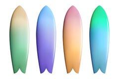 套五颜六色的冲浪板 冲浪的设备 免版税库存图片
