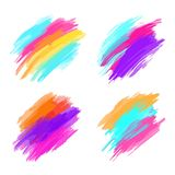 套五颜六色的刷子冲程 现代设计的要素 也corel凹道例证向量 免版税图库摄影
