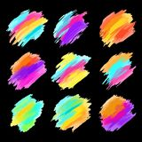 套五颜六色的刷子冲程 现代设计的要素 也corel凹道例证向量 图库摄影