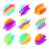 套五颜六色的刷子冲程 现代设计的要素 也corel凹道例证向量 免版税库存图片