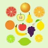 套五颜六色的动画片果子象 整体和切片 库存图片