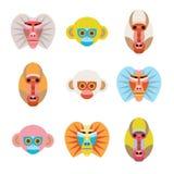 套五颜六色的动画片猴子面孔 免版税库存图片