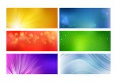 套五颜六色的发光的网横幅 库存照片