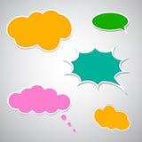 套五颜六色的可笑的讲话泡影 免版税库存照片