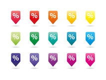 套五颜六色的在白色背景隔绝的彩虹光谱新的别针向量图形例证模板 库存照片