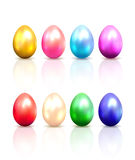 套五颜六色的复活节彩蛋 图库摄影
