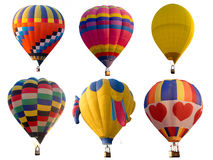套五颜六色的多颜色热空气气球 免版税库存图片