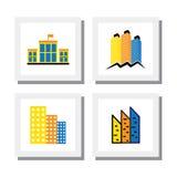 套五颜六色的大厦商标设计&房子-导航象 库存照片