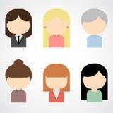 套五颜六色的女性面对象。 图库摄影