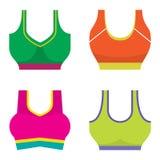 套五颜六色的妇女体育胸罩 库存照片