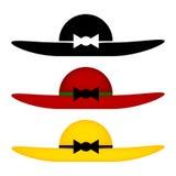 套五颜六色的妇女帽子 库存图片