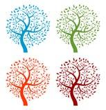 套五颜六色的季节结构树图标 库存照片