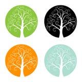 套五颜六色的季节结构树图标 免版税库存照片