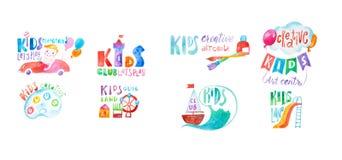 套五颜六色的孩子棍打关心和教育中心标志画与水彩画技术 免版税库存照片
