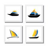 套五颜六色的小船商标设计-导航象 免版税库存图片