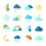 套五颜六色的平的天气象 免版税库存照片