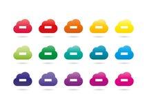 套五颜六色的彩虹光谱云彩服务器签署汇集 免版税库存图片