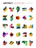套五颜六色的抽象几何形状 免版税库存照片